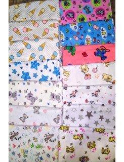 Набор 5 шт.пеленки байковые  90*110 см,  цвет в ассортименте