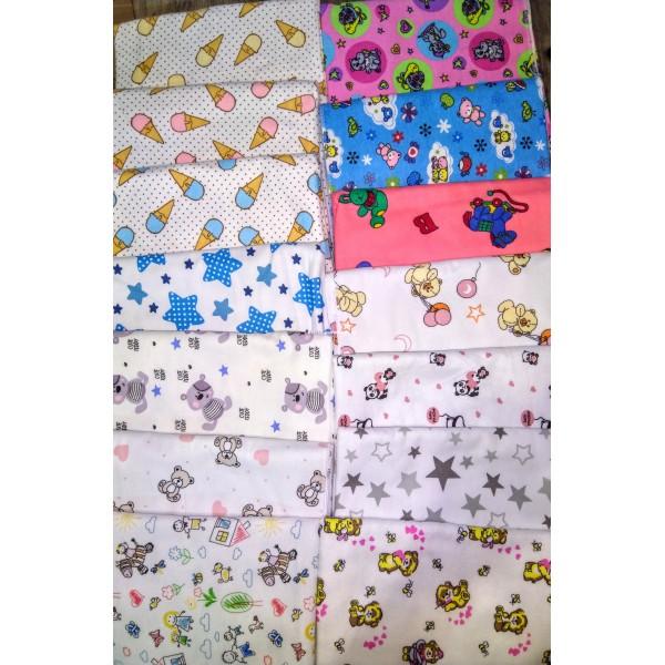 Набор 5 шт.пеленки байковые  90*100 см,  цвет в ассортименте